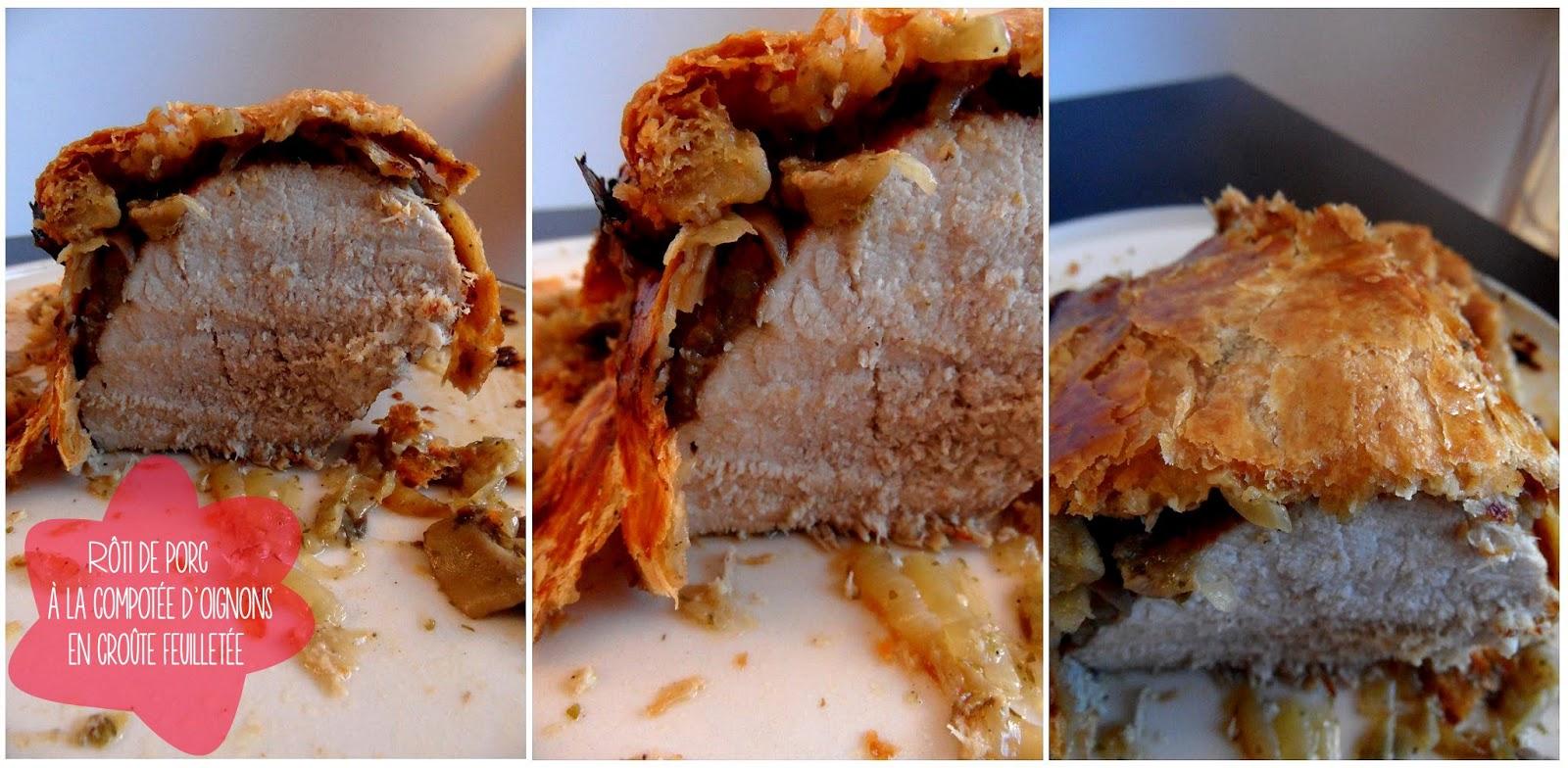 Rôti de porc à la compotée d'oignon en croûte feuilletée et Rösti