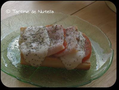 Bruschetta tomate-mozzarella-jambon